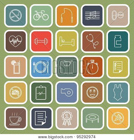 Wellness Line Flat Icons On Green Background