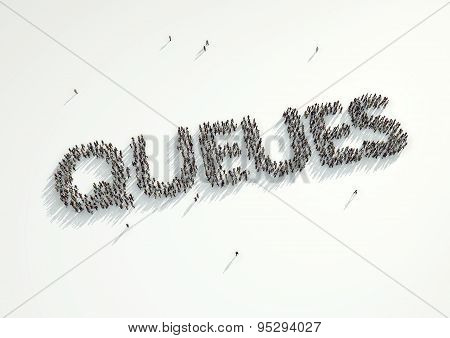 An Aerial Shot Of A Crowd Of People Standing Together In A Queue Forming The Word 'queues'. Concept