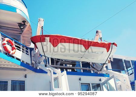 Safety Lifeboat, Small Boat Hanging On The Deck Of The Cruise Ship