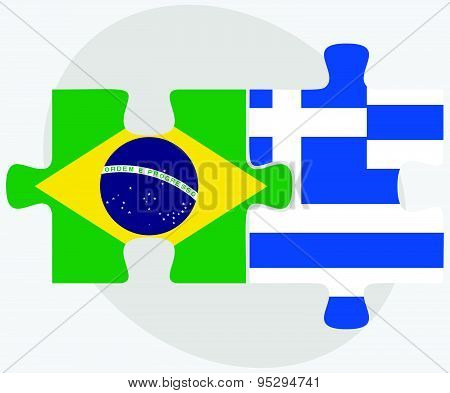 Brazil And Greece Flags