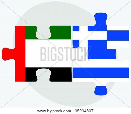 United Arab Emirates And Greece Flags