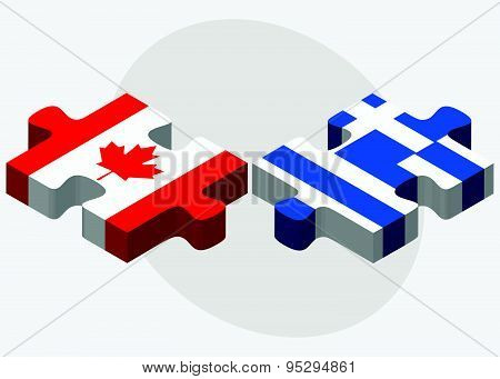 Canada And Greece Flags