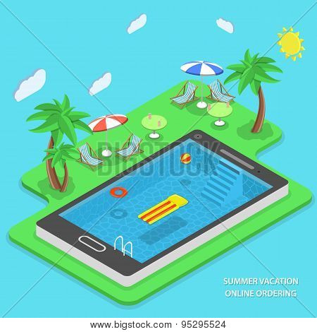 Summer Vacation Online Ordering Vector Concept.