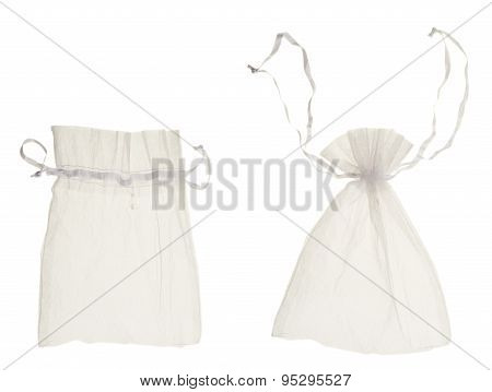White drawstring bag packaging isolated