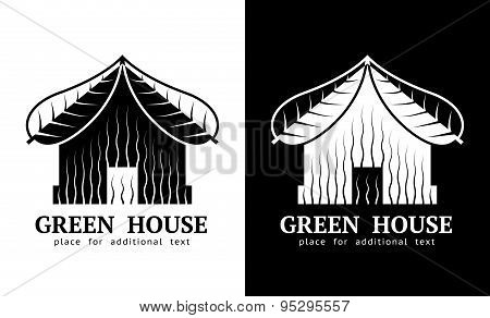House Symbol With Roof Of Leaves