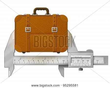 Horizontal Caliper Measures Suitcase