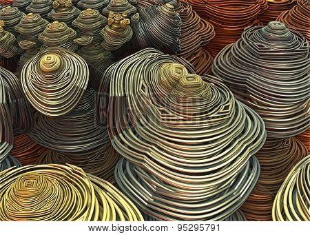 Computer Rendered 3D metallic shapes