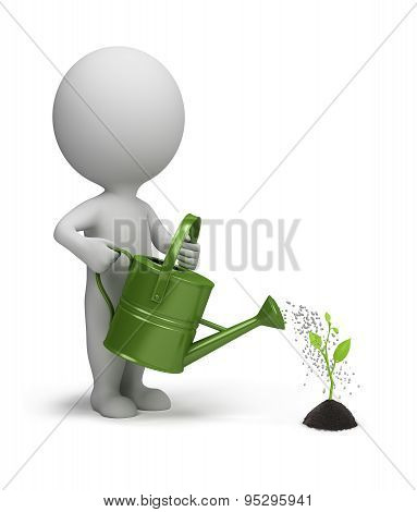3d small person who waters sprout. 3d image. Isolated white background.