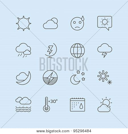 Weather Icons Vector Set. Moon, Sky or Wind and Cloud symbols. Stocks Design Element.