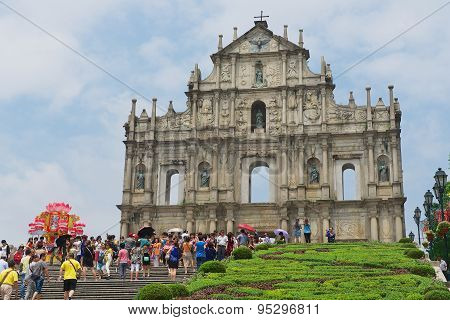 Tourists visit ruins of Saint Paul cathedral in Macau, China.