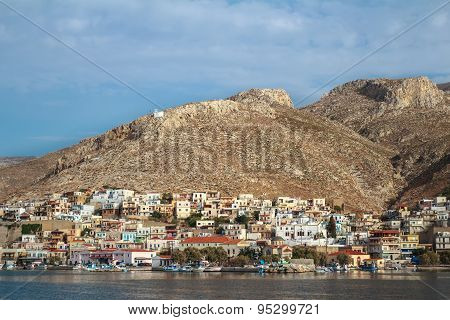 Sea side view of Pothia city bay on Greek Kalymnos island