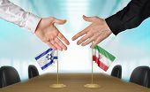 Постер, плакат: Israel and Iran diplomats agreeing on a deal
