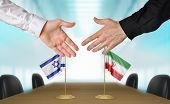 Постер, плакат: Israel and Iran diplomats agreeing on a deal