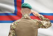 picture of faro  - Soldier in hat facing national flag series  - JPG