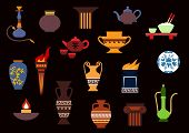 picture of torches  - Containers and kitchenware icons in flat style with ancient torch - JPG