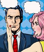 Постер, плакат: Pop Art couple conversation Love couple Pop Art love