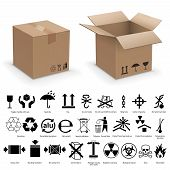 image of fragile sign  - Set of packing symbols with two realistic cardboard boxes - JPG
