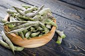 stock photo of soybeans  - Green fresh soybeans on wood background - JPG