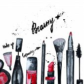 image of nail-design  - Vector watercolor Glamorous make up set of cosmetics with nail polish and lipstick - JPG