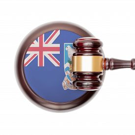 picture of falklands  - Wooden judge gavel with national flag on sound block series  - JPG