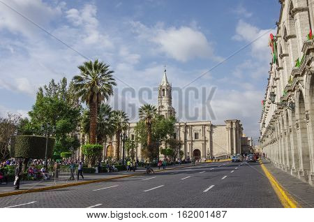 Arequipa, Peru - January 2, 2014: Plaza de Armas square with Basilica Cathedral of Arequipa Arequipa city Peru