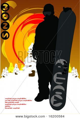 dark snowboarder - vector illustration