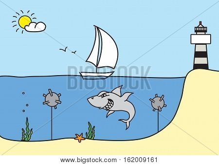 Hand drawn sketch vector illustration, sailboat floats to the lighthouse passing danger, shark and bombs. Design for banner, postcard, infographic