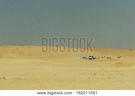 Jeeps traditional Safari Dune Bashing with tourists Oman Ubar in Desert Rub al Khali 4