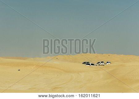 Jeeps traditional Safari Dune Bashing with tourists Oman Ubar in Desert Rub al Khali 5