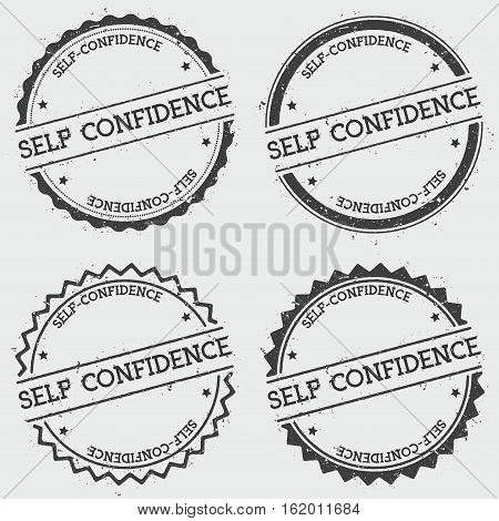 Self-confidence Insignia Stamp Isolated On White Background. Grunge Round Hipster Seal With Text, In