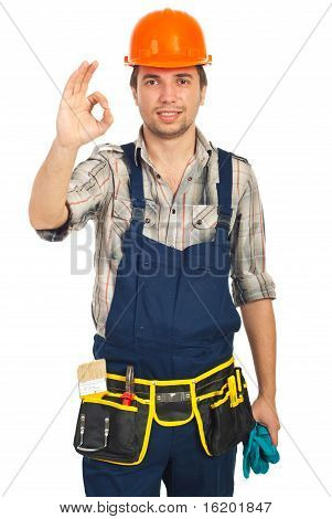 Handwerker zeigen Okay