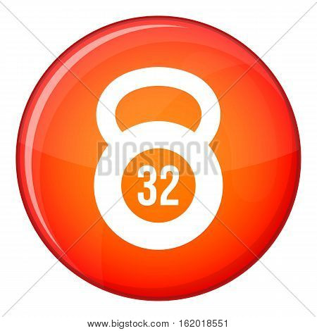 Kettlebell 32 kg icon in red circle isolated on white background vector illustration