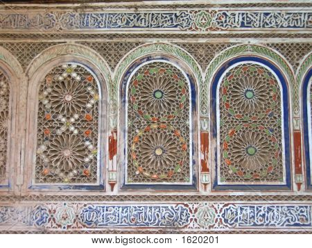 Oriental Architecture With Azulejos And Painted Stuc On A Wall, Bahia Palace, Marrackech, Morocco