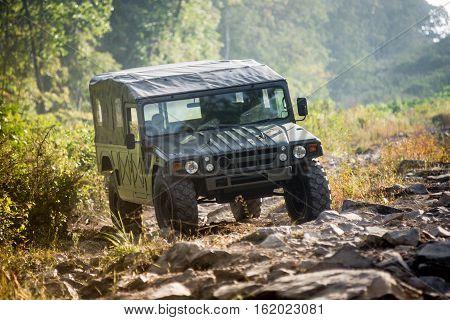 VLADIVOSTOK, RUSSIA - SEPTEMBER 22, 2015: Motor car Toyota Mega Cruiser driving on a forest road