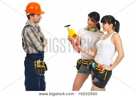 Sexy Workers Women Flirting With Workman