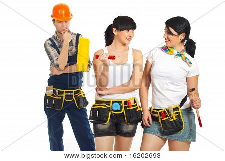 Workman Looking To Two Sexy Workers Women