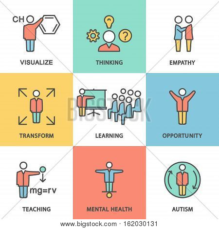 Icons showing the kinds of mental activity: visualization thoughts sympathy transformation training opportunities mental health autism.