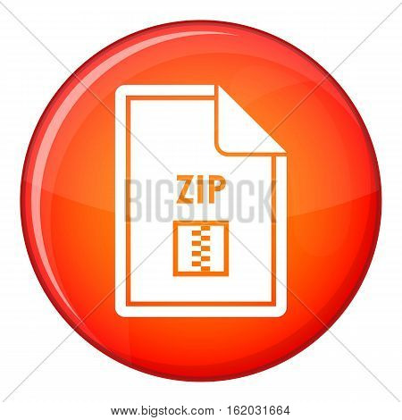 File ZIP icon in red circle isolated on white background vector illustration