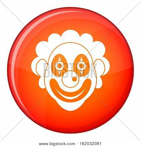 Clown icon in red circle isolated on white background vector illustration
