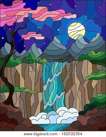 Illustration in stained glass style landscape the tree on the background of a waterfall mountains sun and sky with cherry blossoms in the foreground
