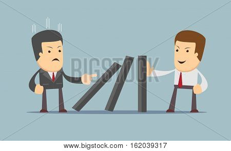 Successful strong confident businessman stopping domino effect. Business, problem, solution, crisis and risk concept. vector illustration
