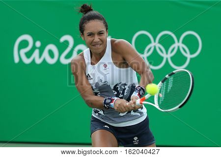 RIO DE JANEIRO, BRAZIL - AUGUST 7, 2016: Tennis player Heather Watson of Great Britain in action during singles second round match of the Rio 2016 Olympic Games at the Olympic Tennis Centre