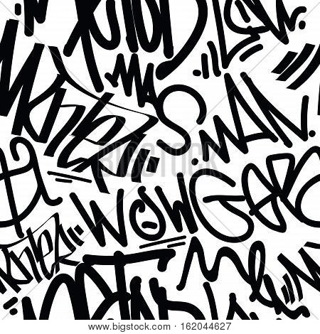 Vector tags seamless pattern. Fashion graffiti hand drawing texture, street art retro style, abstract, vintage design for t-shirt, textile, wrapping paper in black, white