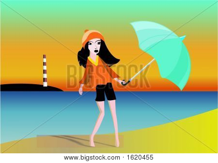 Glamour Girl, andar na praia a noite