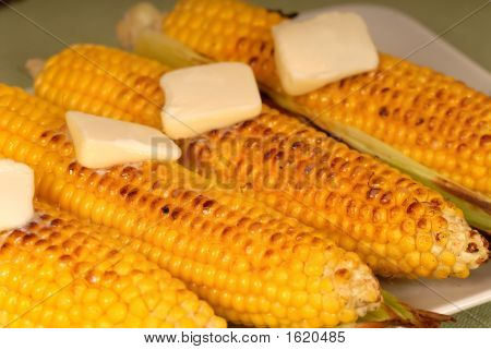 Ears Of Roasted Corn With Butter
