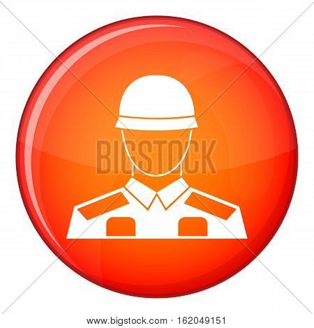 Soldier icon in red circle isolated on white background vector illustration