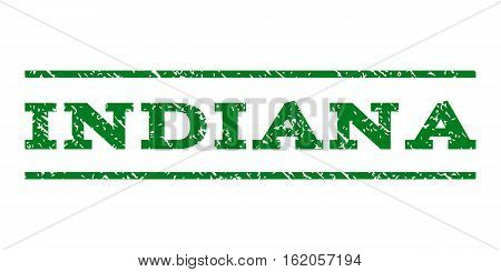 Indiana watermark stamp. Text caption between horizontal parallel lines with grunge design style. Rubber seal stamp with dirty texture. Vector green color ink imprint on a white background.