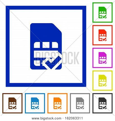 SIM card accepted flat color icons in square frames