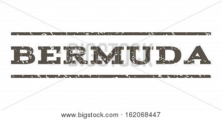 Bermuda watermark stamp. Text caption between horizontal parallel lines with grunge design style. Rubber seal stamp with dust texture. Vector grey color ink imprint on a white background.