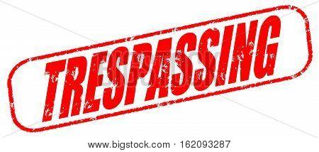 Trespassing on the white background, red illustration